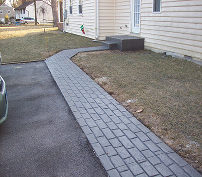 Cobblestone Walkway Back Yard After
