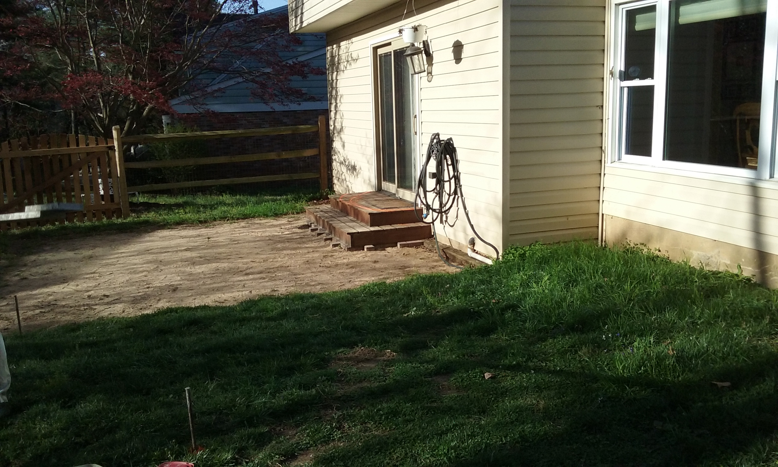 Stamped concrete patio- before