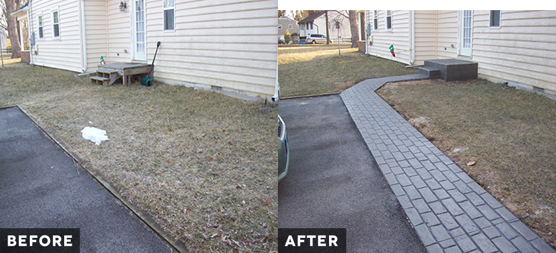Cape St. Claire Cobblestone Walkway before and after
