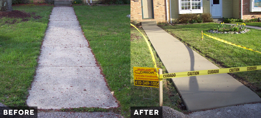 Glen Burnie Townhouse Walkway before and after