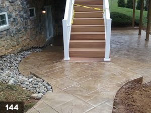 Stamped Concrete steps to back patio landing-144